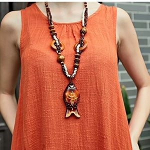 Jewelry - Boho Wooden Long Fish Necklace